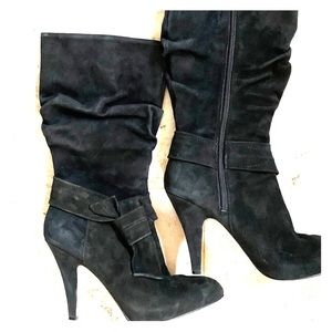 Circa Joan & David Suede Slouch Boots w/Bow
